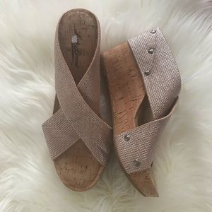 NEW Lucky Brand Miller nude shimmer wedge sandals